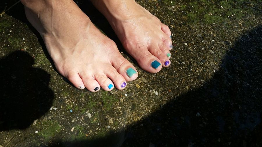 Low Section Of Woman With Colorful Nail Polish