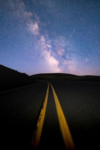 Star - Space Road Astronomy Night Space Infinity Landscape The Way Forward Milky Way Galaxy Sky Yellow Asphalt Long Exposure Scenics Star Field Constellation Outdoors Nature Beauty In Nature EyeEmNewHere Break The Mold