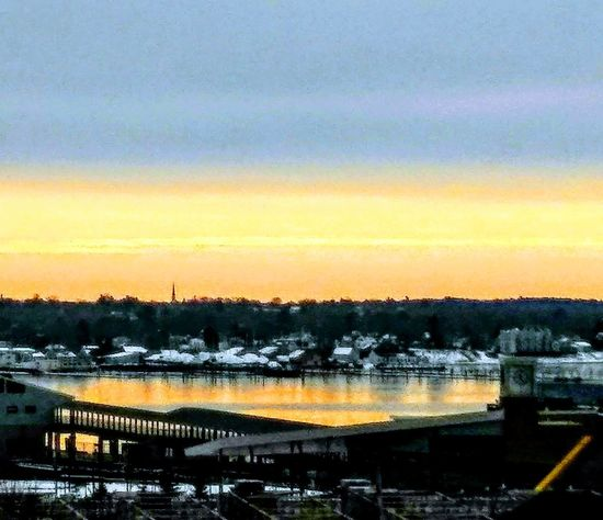 a look across the bay ~ Tranquility Happy Moment My Point Of View Enjoying Life Winter Colors Of Life Loving The Landscape Snow Nature Lover In Portland Maine USA Sunset Reflection Tree No People Outdoors Sky Bridge - Man Made Structure Scenics Nature Water Beauty In Nature Day