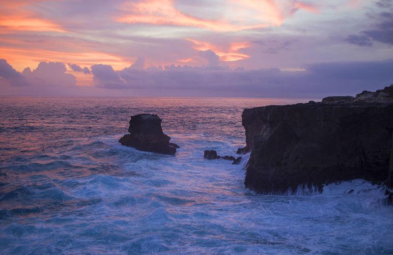Beach Beauty In Nature Cloud - Sky Cloudscape Dramatic Sky Horizontal Landscape Nature No People Outdoors Rock - Object Romantic Sky Scenics Sea Sunset