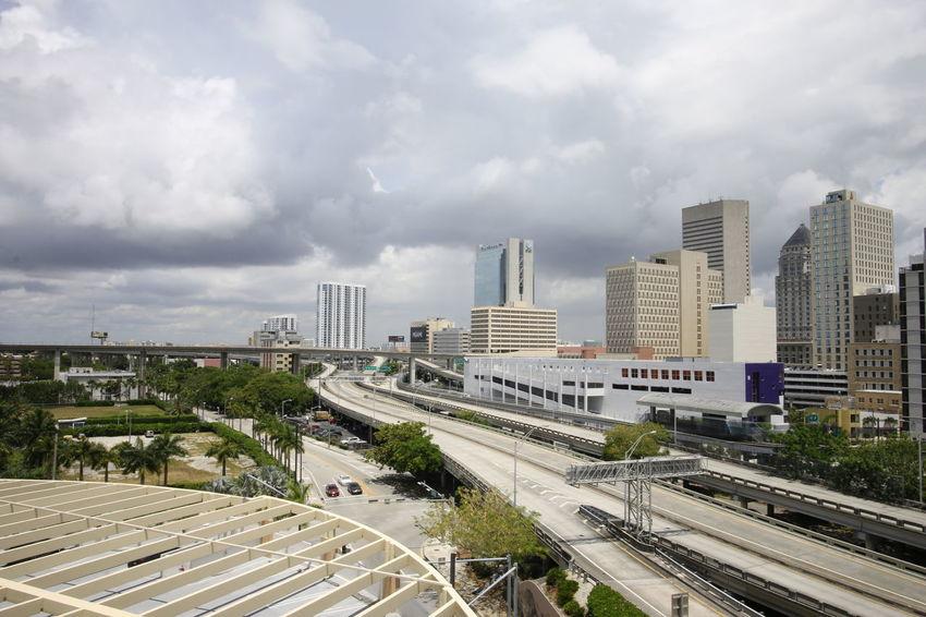 Construction Downtown Miami Skyline Transportation Brickell Building Exterior Buildings Empty Empty Road Empty Roads Florida Miami Florida