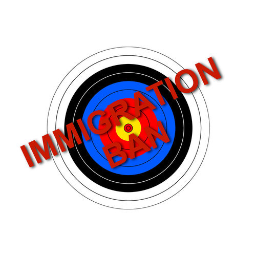 Sport target illustration with the text Immigration Ban. Admission American Archery Banning Country Discrimination Enjoying Life Entry Executive Order Exterior Illustration Immigration Immigration Ban Law Legality National No People Order Political Security Sign Sports Target Sumbol Target White Background