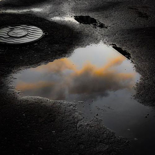 Reflection of clouds in puddle