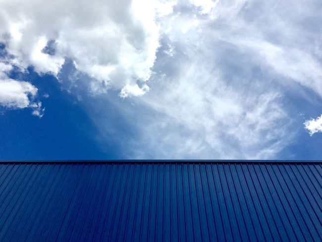 Sky Day Cloud - Sky No People Outdoors Architecture Corrugated Iron Close-up Container Blue Sky Blue