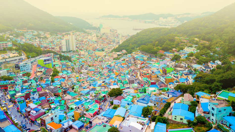 Gamcheon culture village in Busan, South Korea. Gamcheon Culture Village Architecture Building Building Exterior Built Structure Busan Busan Village City Cityscape Community Crowd Crowded Day Gamcheon Gamcheonculturevillage High Angle View Mountain Multi Colored Nature Outdoors Plant Residential District Sky TOWNSCAPE Tree