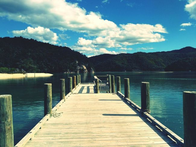 New Zealand Photography New Zealand Beauty Abel Tasman Nationalpark Pier Lake Wood - Material Jetty Water Outdoors Cloud - Sky Sky Bridge - Man Made Structure Beauty In Nature No People