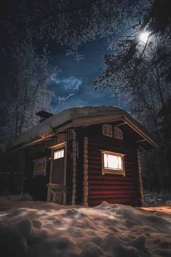 Small red Finnish outdoor sauna Architecture Built Structure Tree Snow Winter Building Nature Sky Night Illuminated Outdoors Window Landscape Nature Sauna Lifestyles Scenics Freshness Beauty In Nature Wood - Material Lapland, Finland Tranquility Tranquil Scene Enjoying Life Relaxing