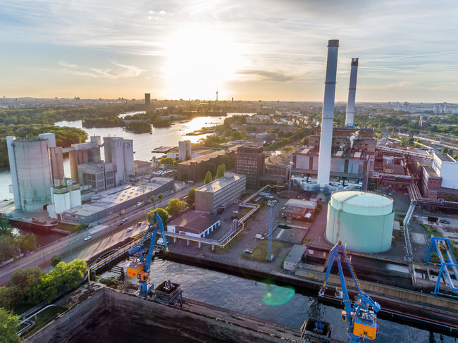 Architecture Building Exterior Built Structure Chimney City Cityscape Day Drone  Façade Inudstri Inudstrial No People Outdoors Sky Sunlight Sunset Water