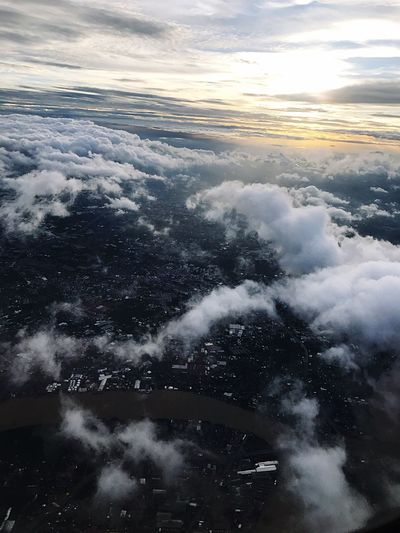 Aerial view of clouds in sky during winter