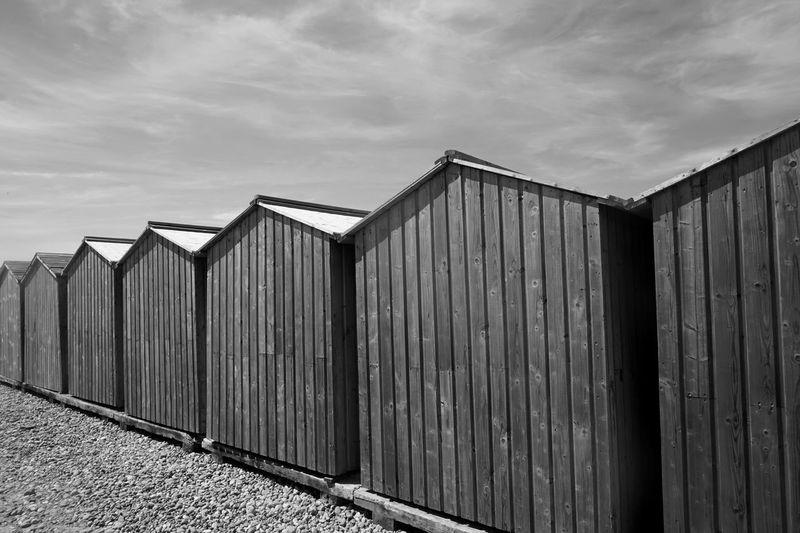 Dieppe Beach Cabins Cabin Wood Repetition Beach Photography Blackandwhite Beachphotography Black & White Minimal Beach Day