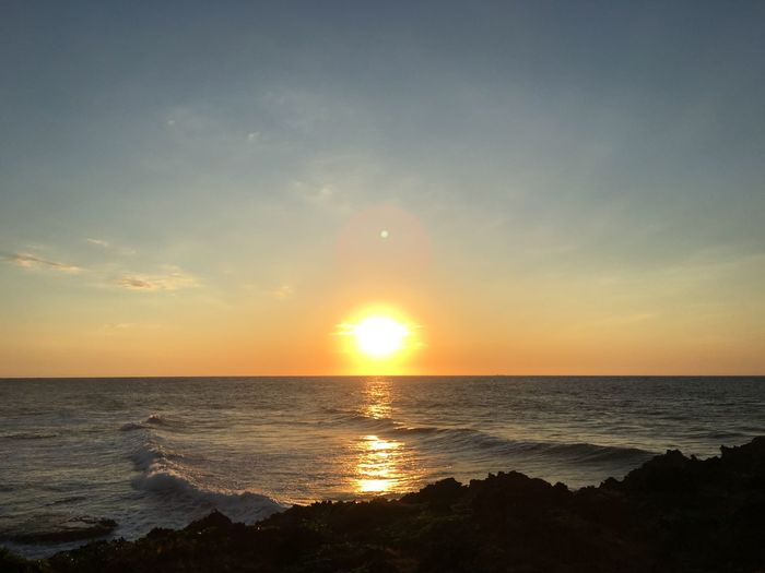 Sunset Beach Horizon Over Water Sea Tranquil Scene Tranquility Nature Beauty In Nature TeamD Horizon Outdoors Bolinao, Pangasinan