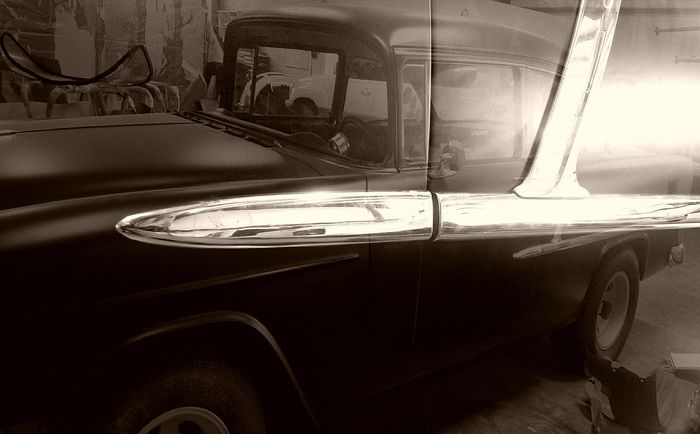 Car Old-fashioned Mode Of Transport Land Vehicle Chevrolet Antique Car Antique 55 Chevy Transportation Transportation No People Stationary Luxury Day Indoors  Close-up Black And White Friday