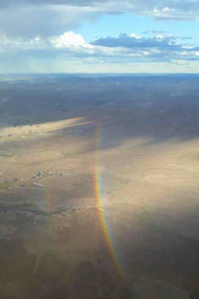 Flying over the rainbow. Helicopter scenery. Helicopter View  Flight Nurse Over The Rainbow