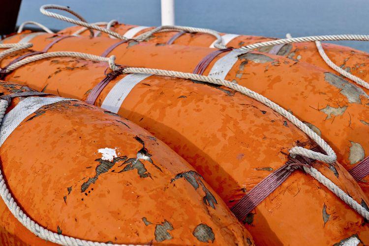 Close-up of abandoned lifeboat
