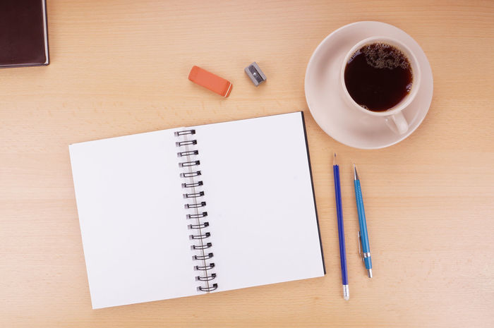 Black Coffee Coffee Coffee Cup Copy Space Cup Desk Desktop Directly Above Drawing Empty Flat Lay Note Pad Overhead View Page Pencil POV Table Top View Writing