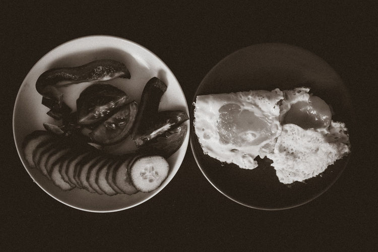 Breakfast Close-up Cucumber Eggs Food Freshness Fried Eggs Indulgence No People Paprika Plate Plates Ready-to-eat Served Serving Size Still Life Temptation The OO Mission Tomato Two Plates Vegetables What's On The Roll Two Is Better Than One Black And White Monochrome Photography