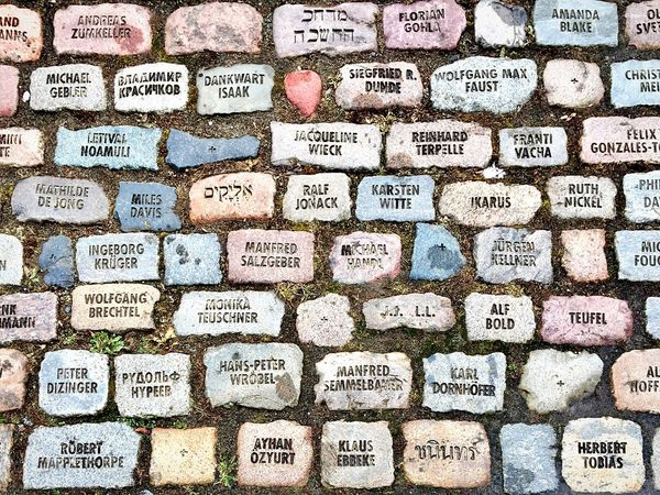 Memories. Stones Communication Memories Memorial No People Large Group Of Objects Full Frame Variation Multi Colored Backgrounds Close-up Textures And Surfaces Surfaces And Textures IPhoneography Berlin Hamburger Bahnhof Stone - Object Ground Names Persons Directly Above The Street Photographer - 2017 EyeEm Awards