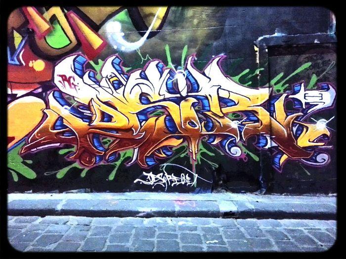 Dsire rock god crew Graffiti piece in Hosier Lane for All Your Walls