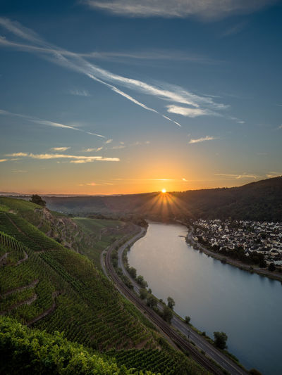 High angle view of moselle river at sunset