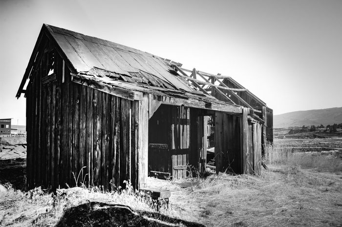 Abandoned pioneer settlement along the Columbia River Abandoned Architecture Barn Building Exterior Built Structure Clear Sky Damaged Day Field Grass House Nature No People Outdoors Sky