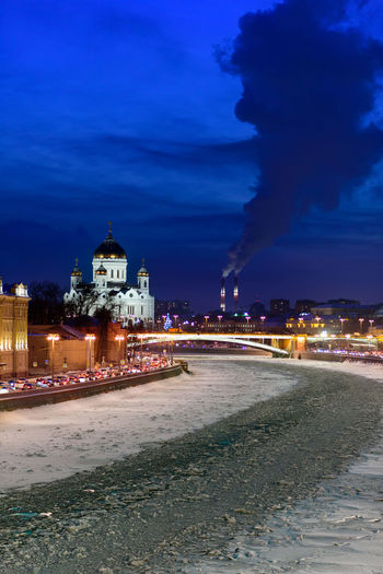 The frozen Moskva river (or Moscow River) in the Russian capital, overlooking the Cathedral of Christ the Saviour at blue hour Architecture Building Exterior Illuminated City Night Sky Religion Building Place Of Worship Dusk No People Outdoors Winter Frozen River Moscow Moscow River Moskva Ice Twilight Blue Hour Copy Space