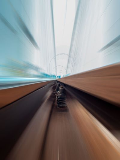 Blurred motion of railroad track