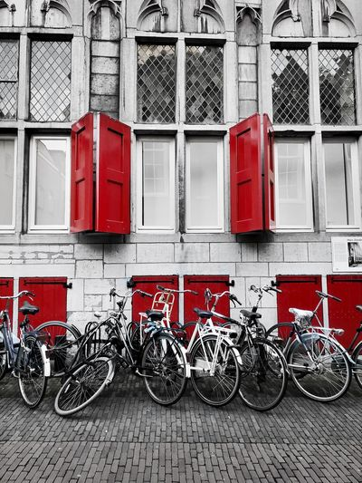 Shutters & Bikes Netherlands Shutters Built Structure Building Exterior Red Architecture Day No People Transportation Bicycle Window City