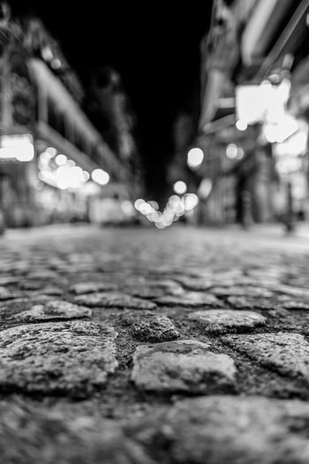Blackandwhite Midnight Stone Macau City Selective Focus Street Night Illuminated No People Surface Level Close-up Architecture Road Building Exterior Outdoors Built Structure Transportation Pattern Nature The Way Forward Communication Footpath