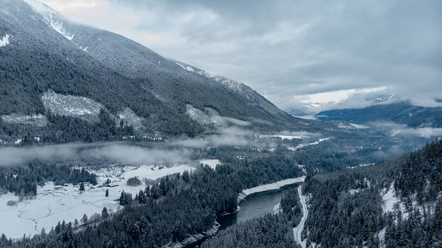 Aerial of snowy cold valley