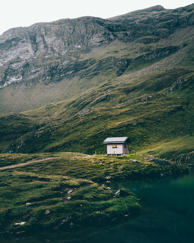 Little Cabin in the wilderness at the Bachalpsee on the First in Grindelwald, Switzerland Alps Bachalpsee Cabin First Forlorn Green Grindelwald Grindelwald-first Hut Hütte Lake Lonely Mood Moody Mountain Mountains Remote Scenery Scenic Schweiz Switzerland Wilderness
