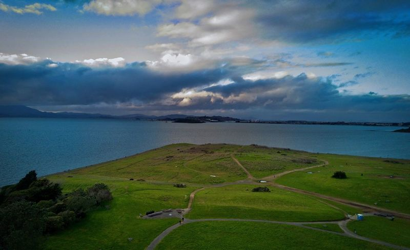 After The Rain, Beach Beauty In Nature Birds Eye Photography Cloud Cloud - Sky Clouds Cloudy Day Drone  Dronephotography Golf Course Grass Green Color L. Jeffrey Moore Mavic Nature No People Outdoors Sea Sky Water Lost In The Landscape Perspectives On Nature