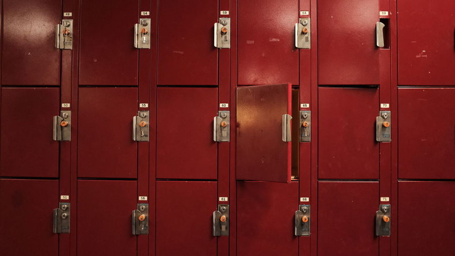 Backgrounds Closed Door Dressing Room Entrance Full Frame In A Row Indoors  Lock Locker Locker Room Metal No People Number Protection Red Repetition Safety Security Side By Side