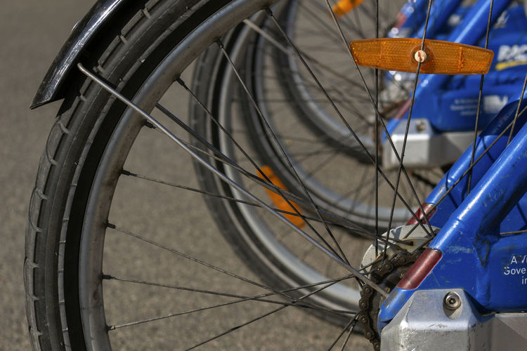 Bicycle Transportation Mode Of Transportation Spoke Land Vehicle Wheel Stationary Close-up Focus On Foreground No People Day Outdoors Metal Travel Tire Sport Pedal City Blue