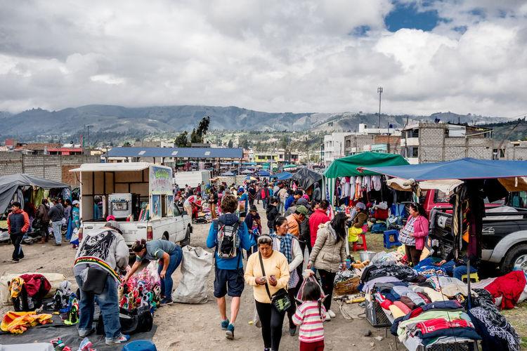 Busy market in