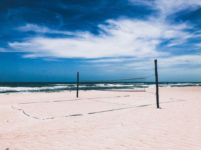 Fortaleza Brazil Beachphotography Beach Volleyball Voleyball Voley Playa #beach Playa EyeEm Selects Sky Land Beach Cloud - Sky Sea Beauty In Nature Water Sand Tranquility Tranquil Scene Horizon Over Water No People