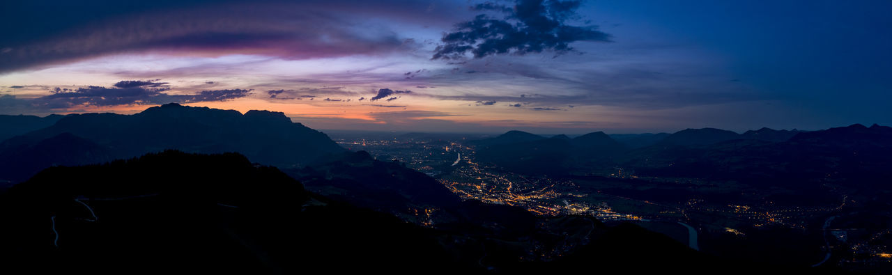 An amazing view over the landscape from the city Salzburg in Austria. Aerial Shot Night Lights Panorama Panoramic Panoramic View Sunset_collection Aerial Aerial Photography Aerial View Beauty In Nature City Lights Cloud - Sky Mountain Mountain Range Nature Night No People Outdoors Salzburg Scenics Silhouette Sky Sunset Tranquility Tree Lost In The Landscape