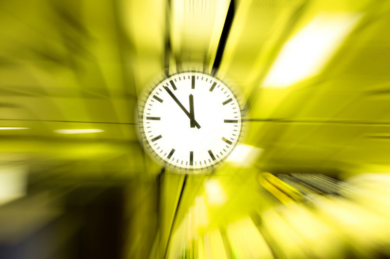 Blurred motion of clock