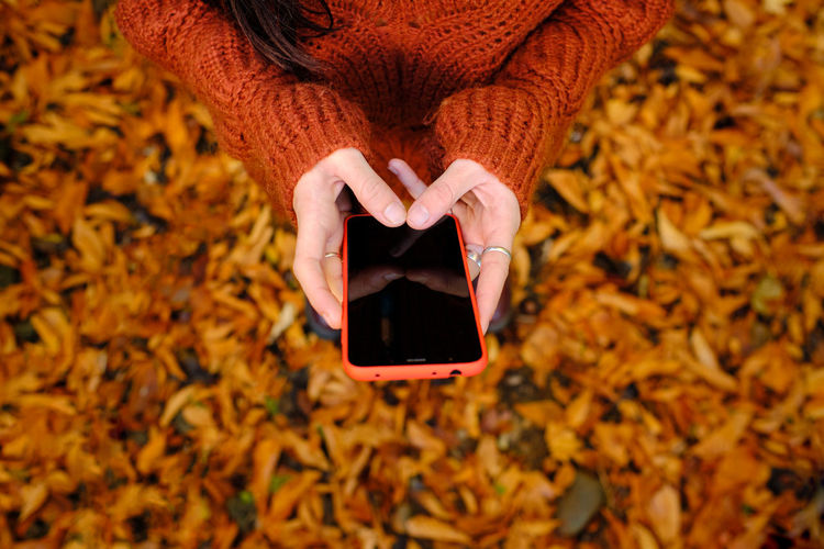 Low angle view of woman holding smart phone during autumn