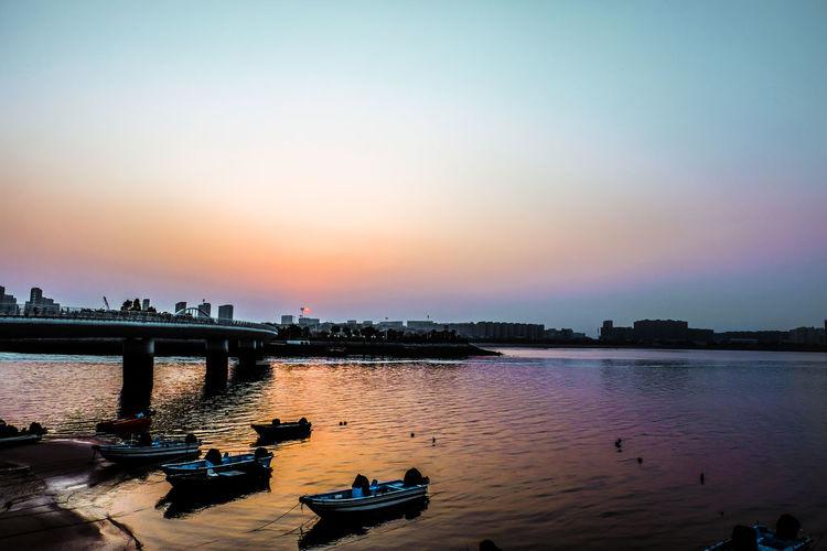 Xiamen China Boats Bridge Dockside Sunset