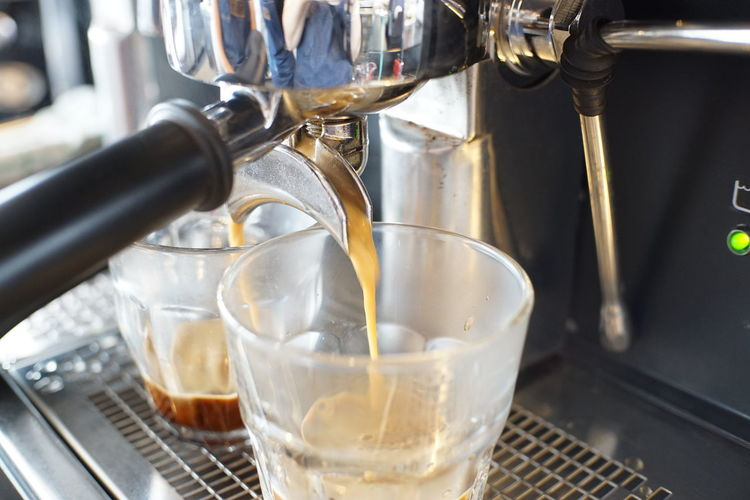 Coffee making step. Food And Drink Coffee Coffee - Drink Coffee Maker Indoors  Espresso Maker Appliance Machinery Coffee Shop Espresso Machine Coffee Machine Thailand Hot Glass Cafe
