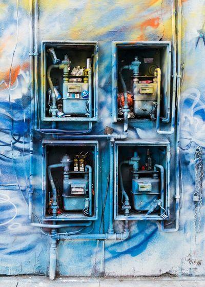 Detail of a painted wall, Shoreditch. Check This Out Street Art Graffiti Art Urban UrbanART Shoreditch London Wall Art Blue Colourful