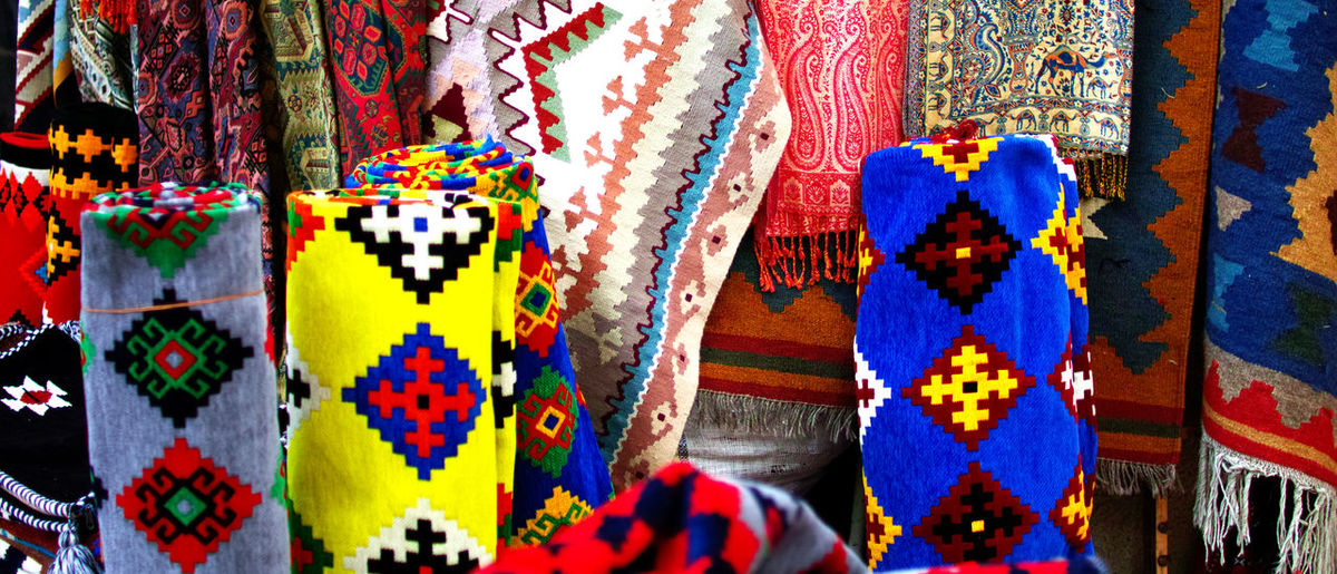 Full frame shot of textile for sale in market