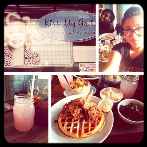 Eating Chicken N Waffles