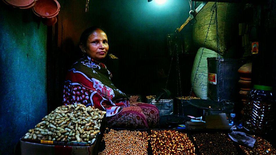 Night Illuminated People And Places India Market