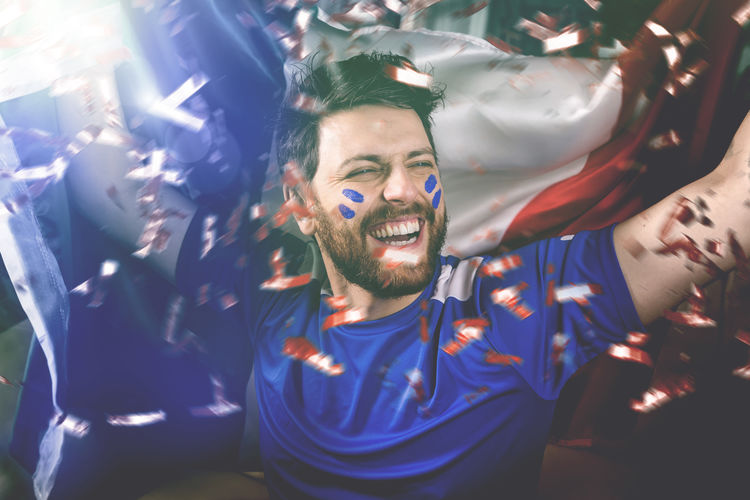 French fan celebrating European  Football France France🇫🇷 Home Enthusiasm Euro Europe Fan Fan - Enthusiast France 🇫🇷 French Game Shouting Sofa Sport