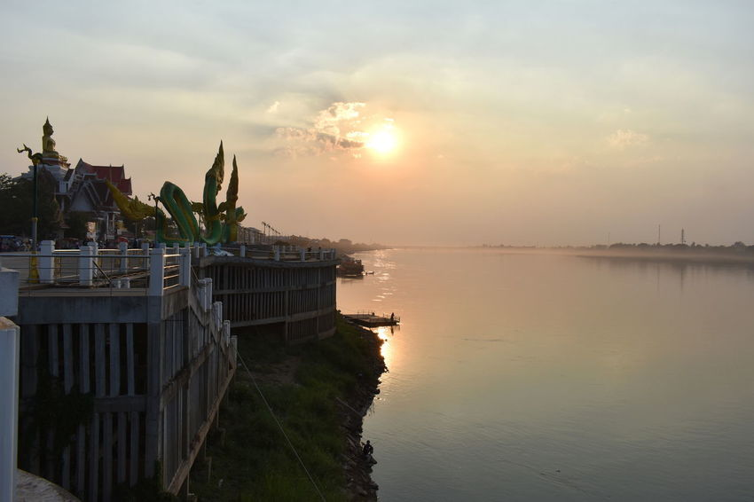 border river, landmark, horizon, border Mekong River Beautiful Evening Golden Sun Over Mekong River As Background Beauty In Nature Border River Day Golden Sky Horizon Nature No People Outdoors Reflection Sea Sky Sunset Water