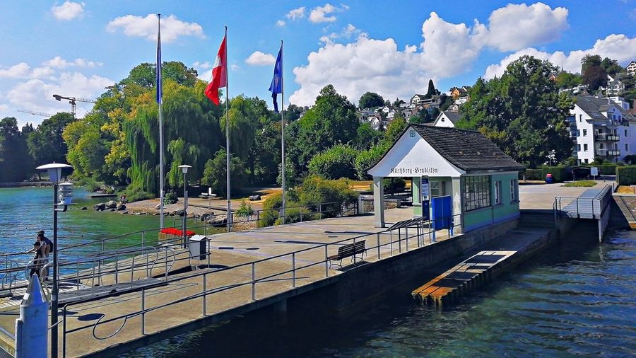 Pier in Kilchberg Waterfront Outdoors Flag Day Cloud - Sky Tree Water Pier Kilchberg Lake Of Zurich
