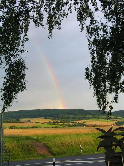 Rainbow over landscape against sky