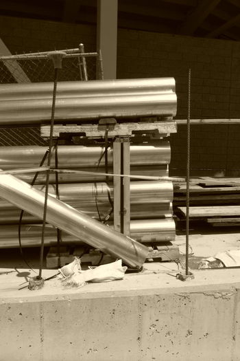 Construction Work Construction Inprogress Metal Unfinished Metalpipe Pipe Day Shinny Sepia Sepia Photography Sepia_collection No People Construction Industry Unfinished Work... Pipe - Tube Construction Site