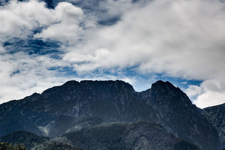 Giewont in Tatry Polish Mountain view from Zakopane Cropped Dramatic Sky Famous Place Giewont, Karpaty, God Hill Janosik Karpaty Knight  Landmark Landscape Mountain Mountaineering Pik Poland Popular Place Religion Rock Sharp Sleep Tourism Tradition Well Kno Zkopane Zoom On Pik